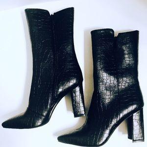 Black Crocodile Faux Leather Bootie